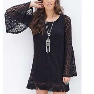 F21 Tasseled Crochet Shift Dress - black/sz S